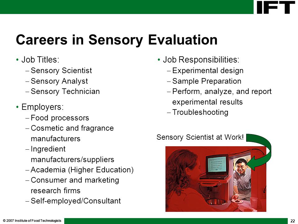Careers in Sensory Evaluation