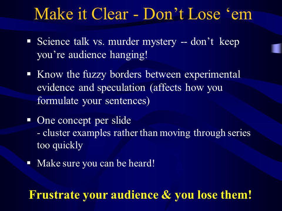 Make it Clear - Don't Lose 'em