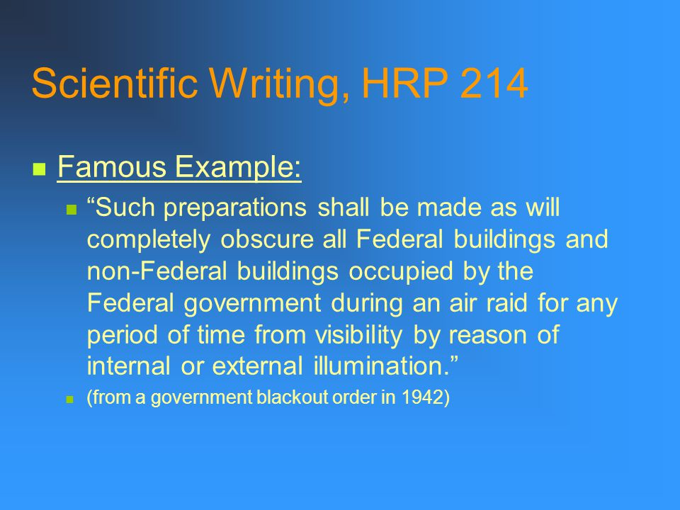 Scientific Writing, HRP 214
