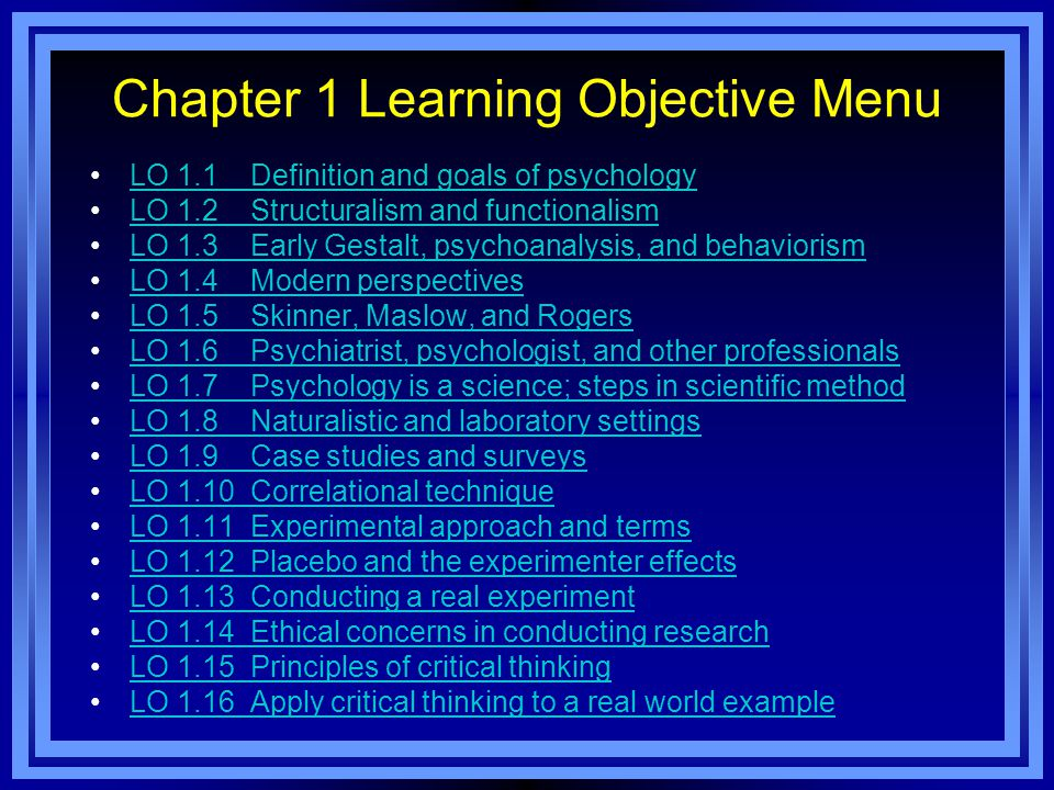 Chapter 1 Learning Objective Menu