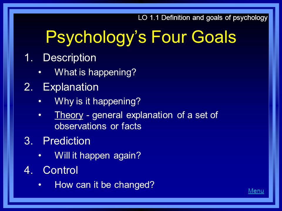 Psychology's Four Goals