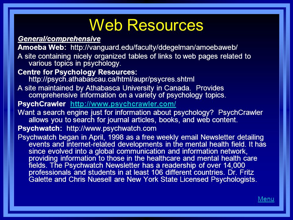 Web Resources General/comprehensive