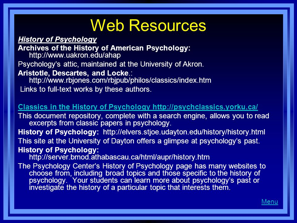 Web Resources History of Psychology