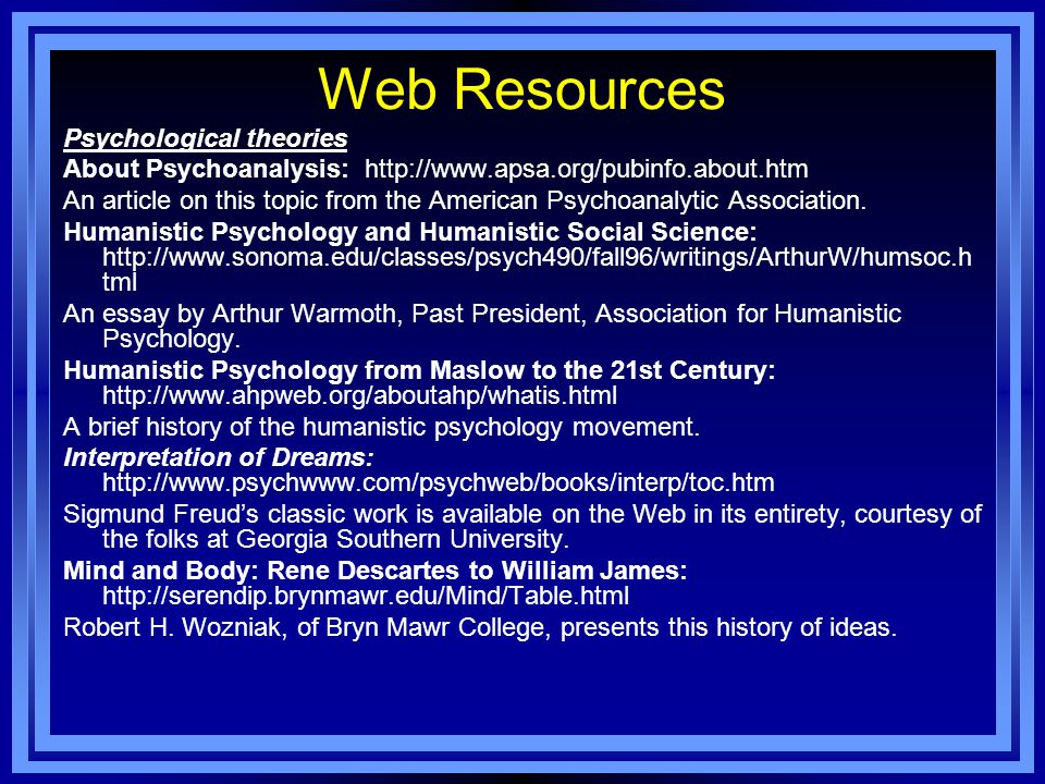 Web Resources Psychological theories