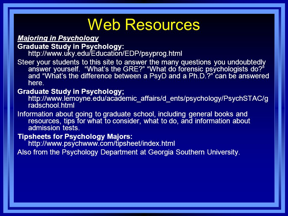 Web Resources Majoring in Psychology