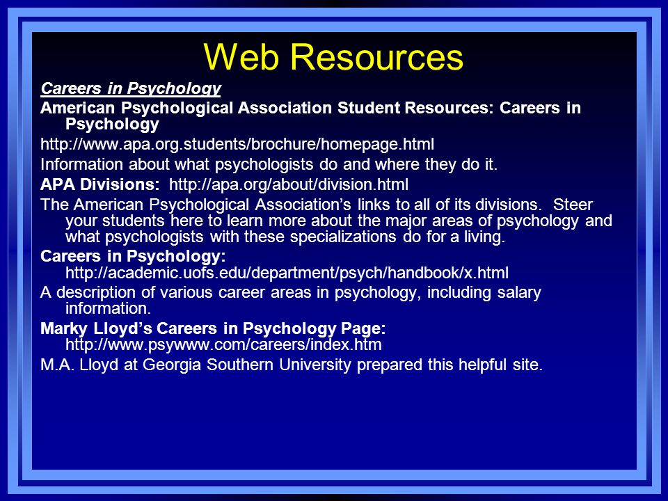 Web Resources Careers in Psychology