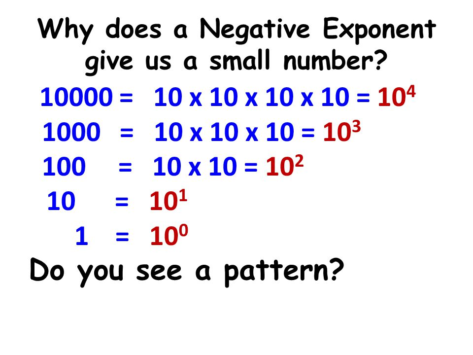Why does a Negative Exponent give us a small number