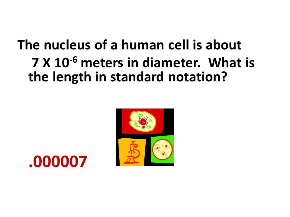 .000007 The nucleus of a human cell is about