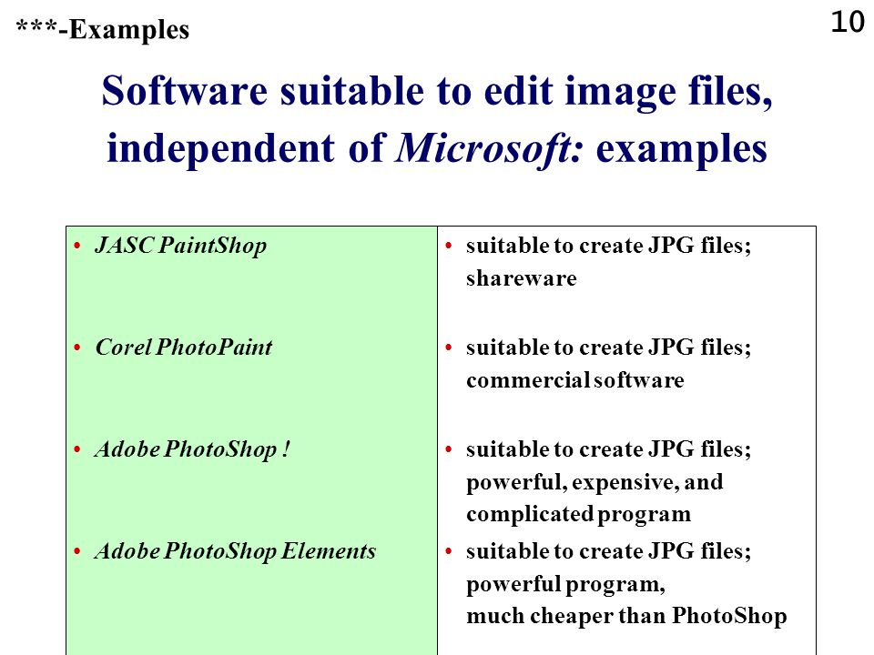 ***-Examples Software suitable to edit image files, independent of Microsoft: examples. JASC PaintShop.
