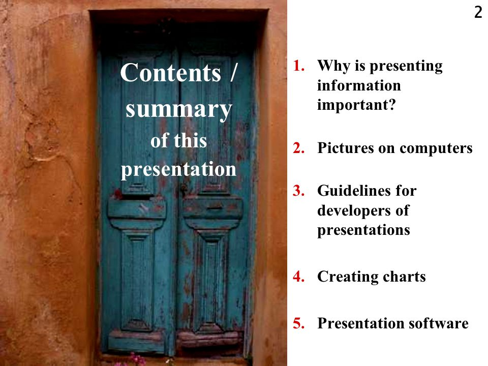 Contents / summary of this presentation