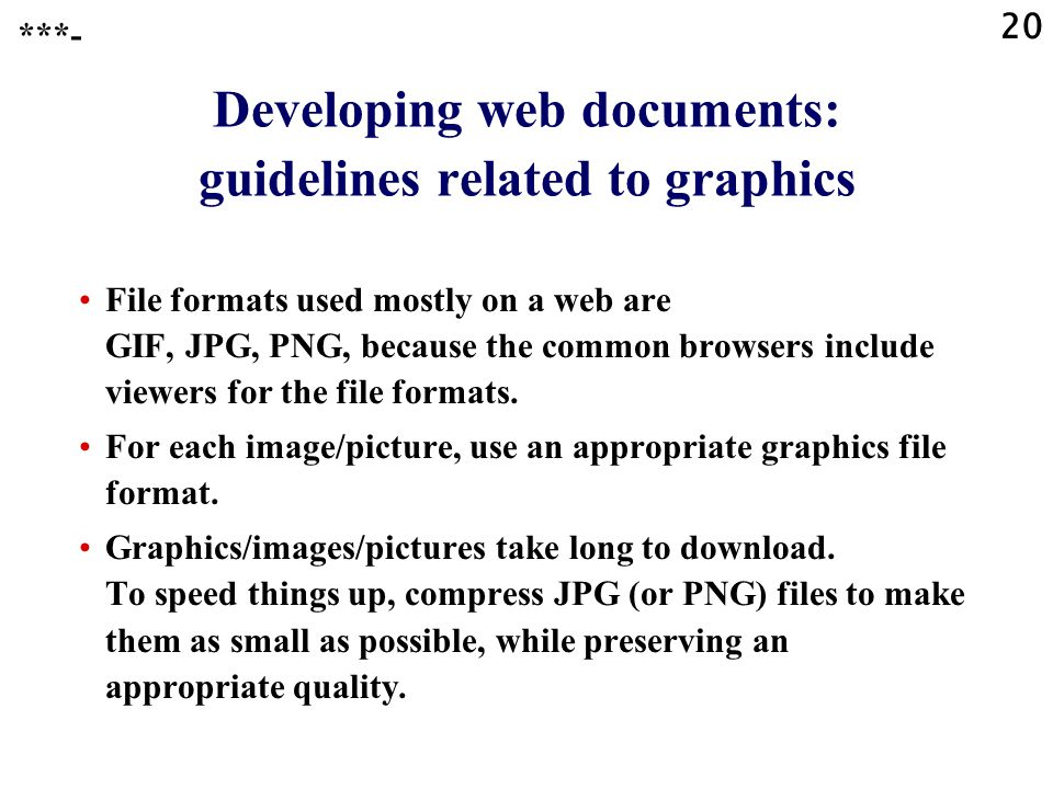 Developing web documents: guidelines related to graphics