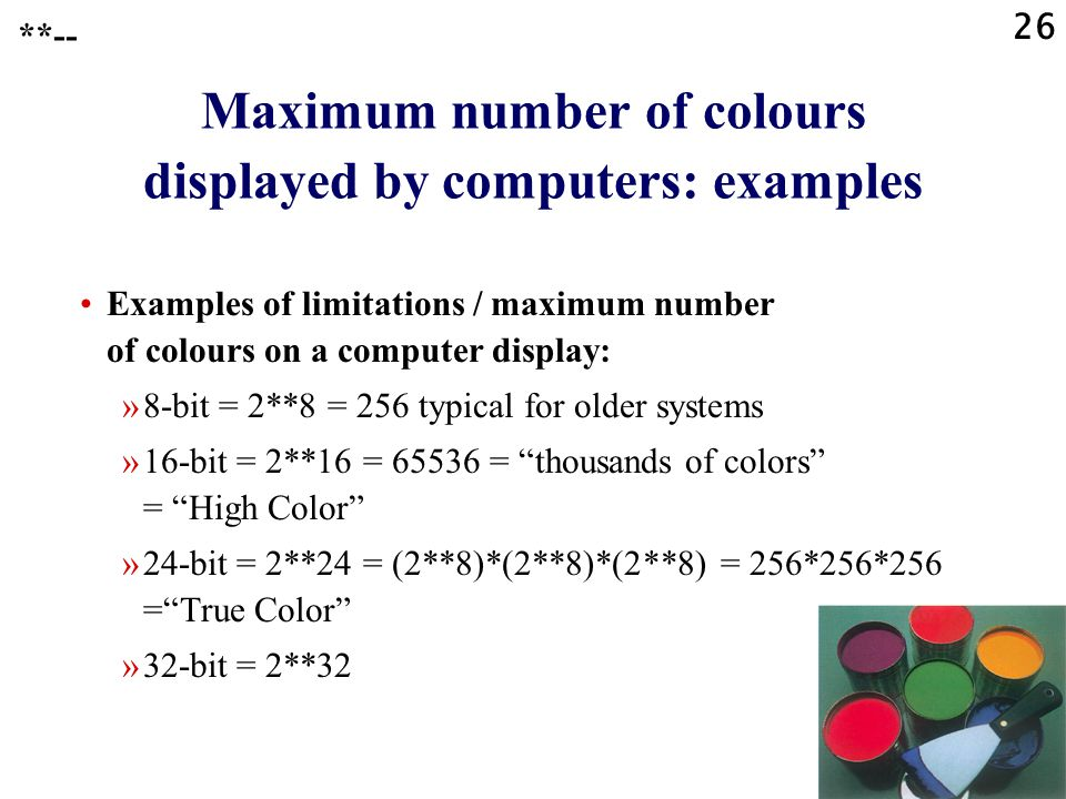 Maximum number of colours displayed by computers: examples