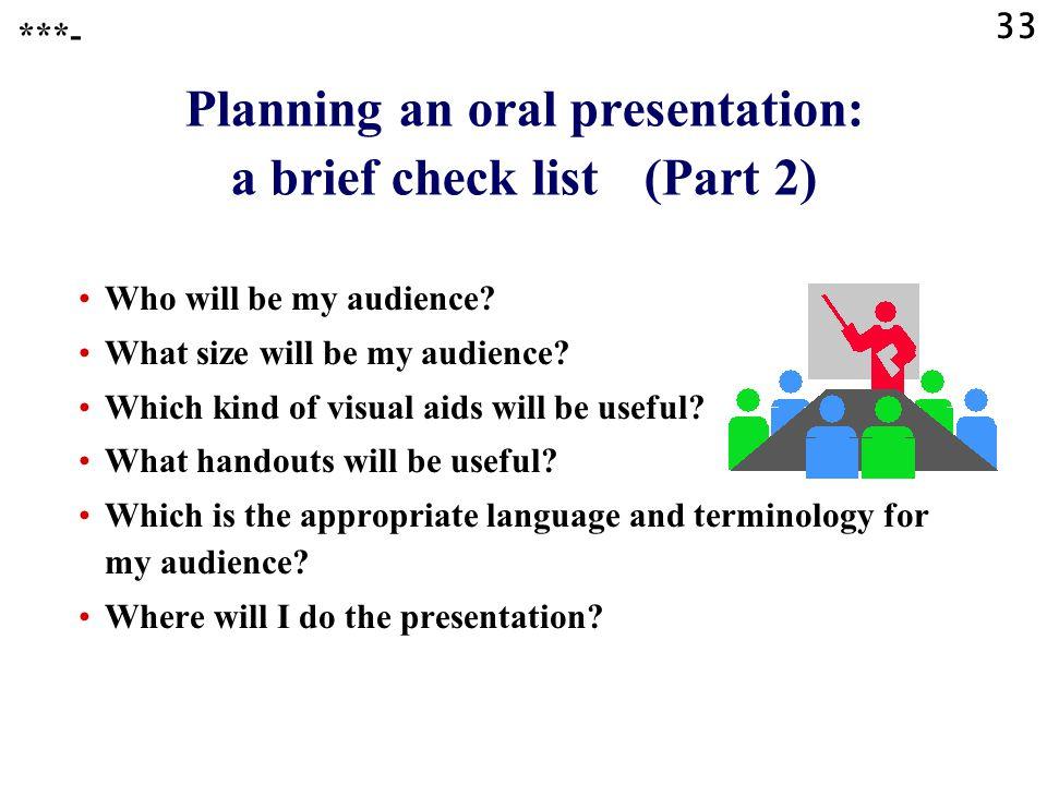 Planning an oral presentation: a brief check list (Part 2)