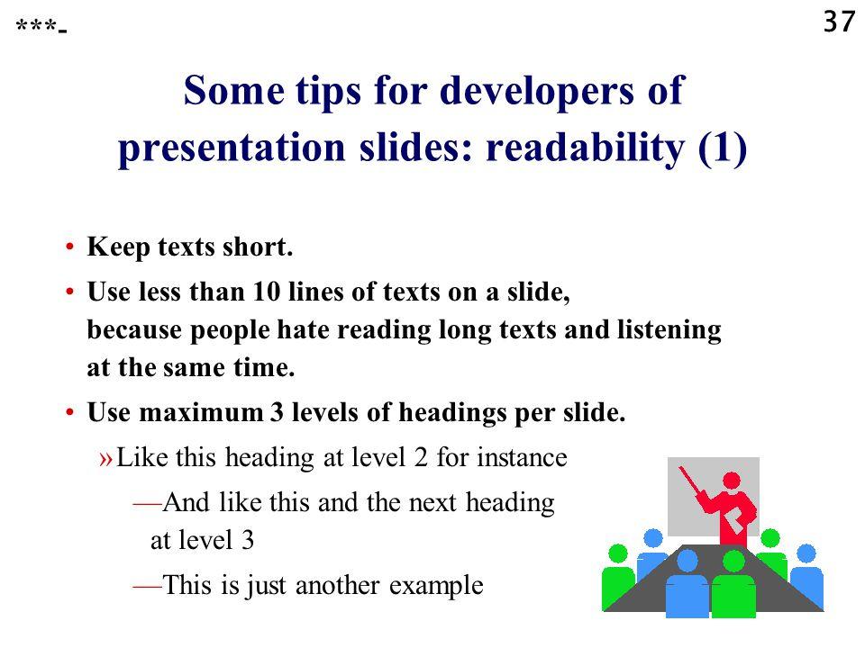 Some tips for developers of presentation slides: readability (1)