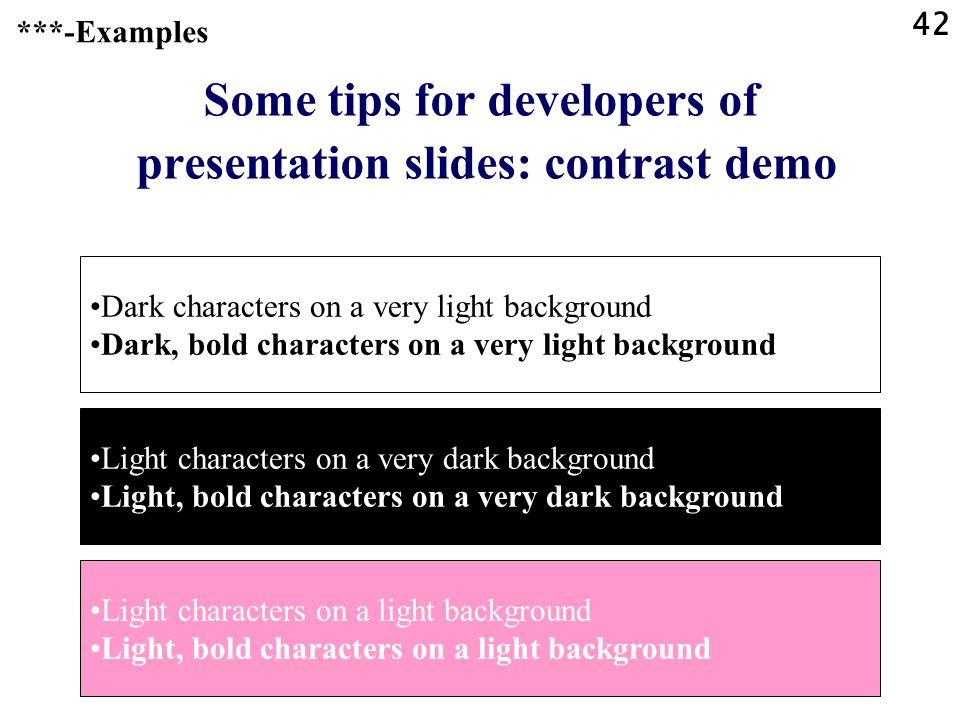 Some tips for developers of presentation slides: contrast demo