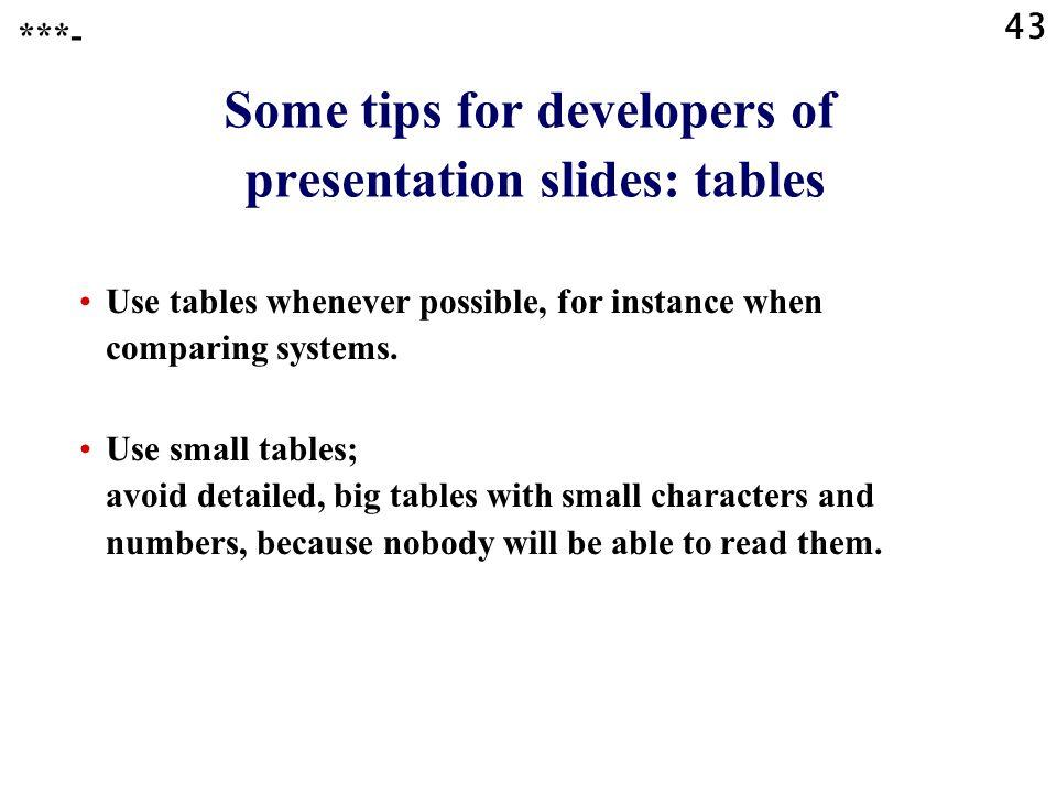 Some tips for developers of presentation slides: tables