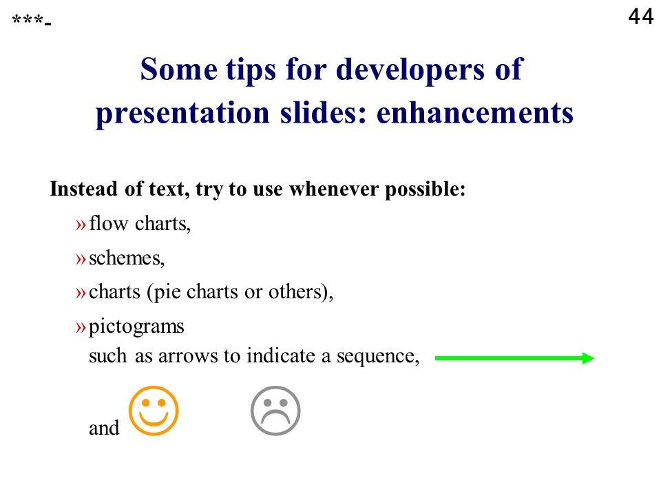 Some tips for developers of presentation slides: enhancements