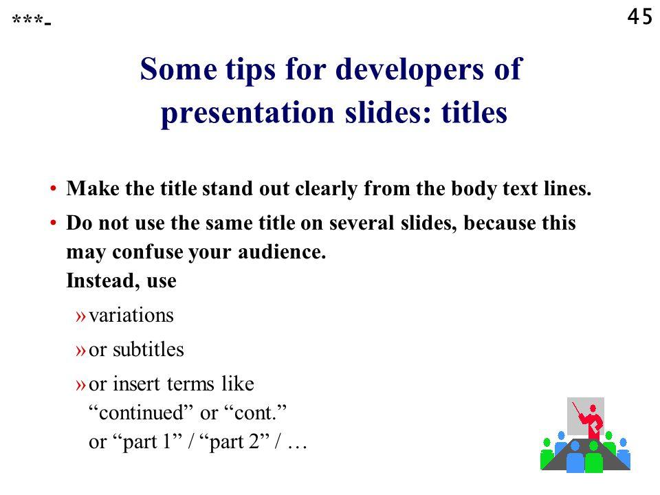 Some tips for developers of presentation slides: titles