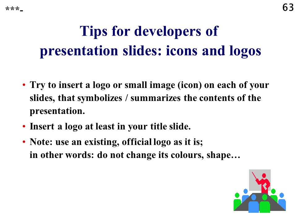 Tips for developers of presentation slides: icons and logos
