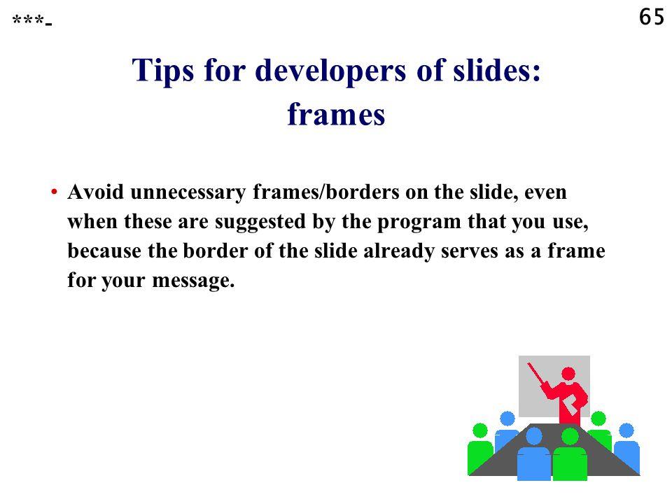 Tips for developers of slides: frames