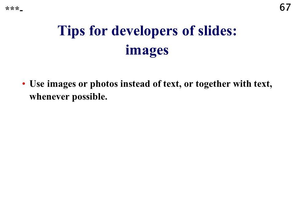 Tips for developers of slides: images