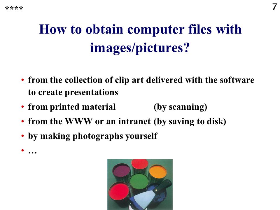 How to obtain computer files with images/pictures