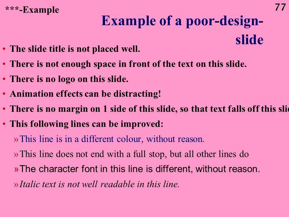 Example of a poor-design- slide