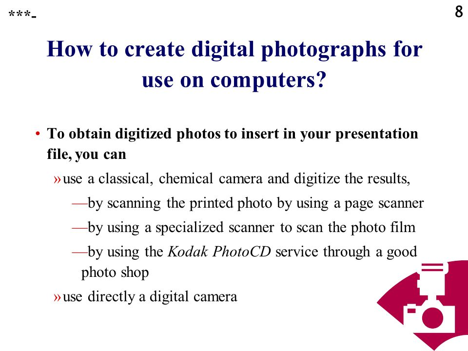 How to create digital photographs for use on computers