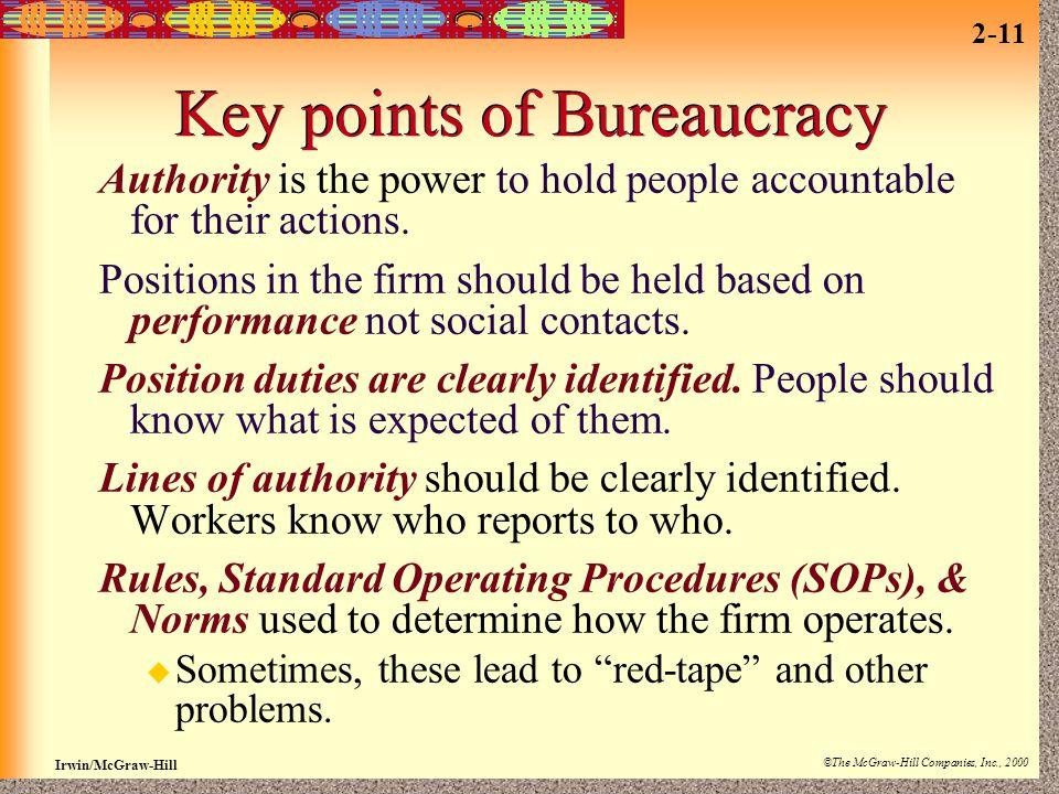 Key points of Bureaucracy