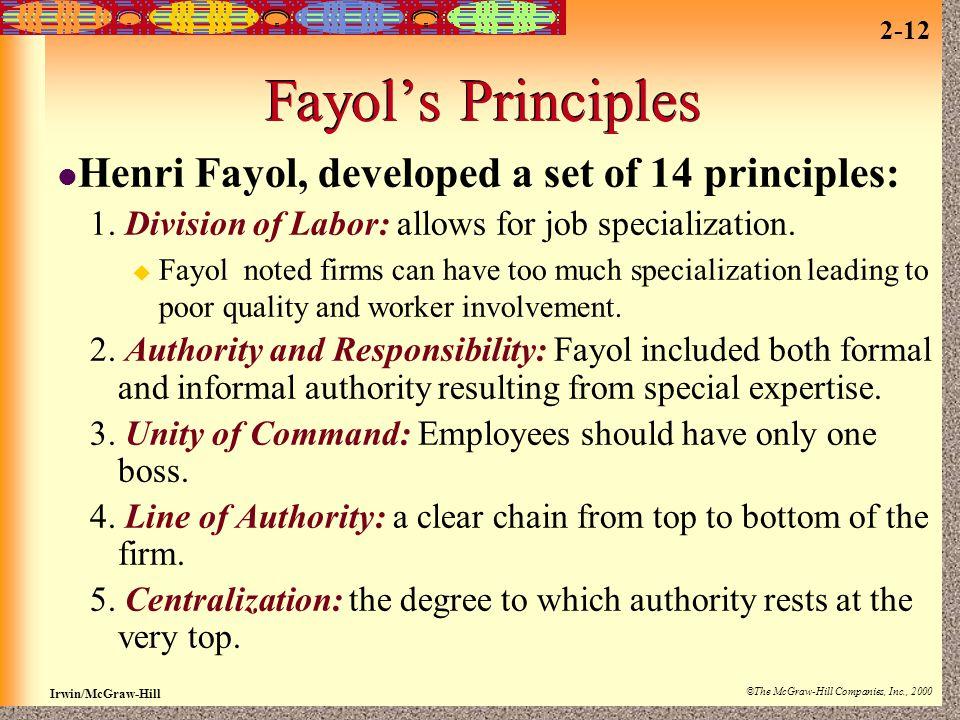 Fayol's Principles Henri Fayol, developed a set of 14 principles: