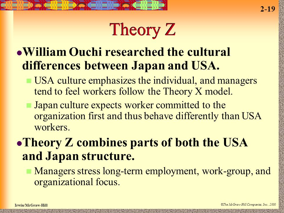 Theory Z William Ouchi researched the cultural differences between Japan and USA.