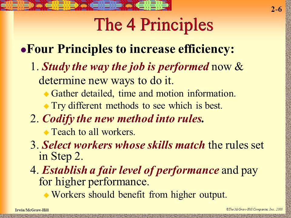The 4 Principles Four Principles to increase efficiency: