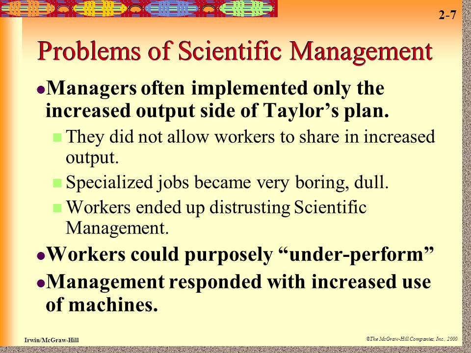 Problems of Scientific Management