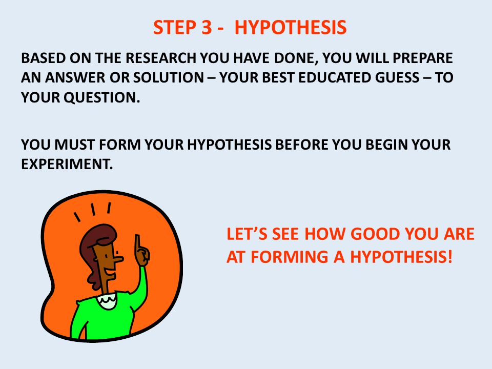 STEP 3 - HYPOTHESIS