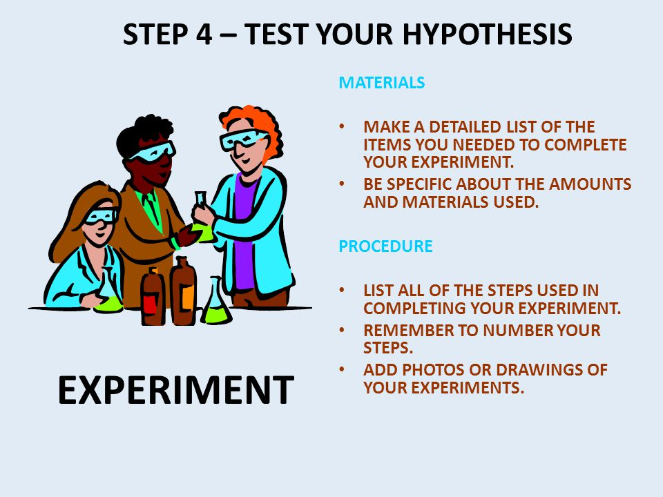 STEP 4 – TEST YOUR HYPOTHESIS