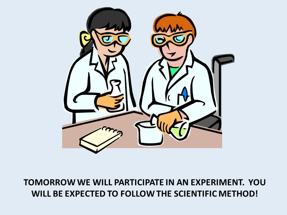 TOMORROW WE WILL PARTICIPATE IN AN EXPERIMENT