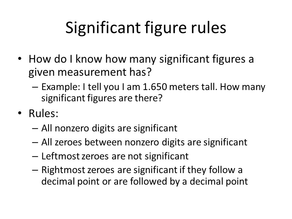 Significant figure rules