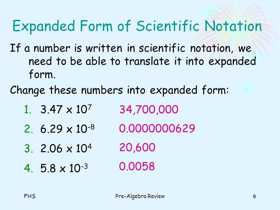 Expanded Form of Scientific Notation