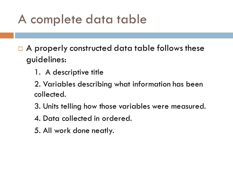 A complete data table A properly constructed data table follows these guidelines: 1. A descriptive title.