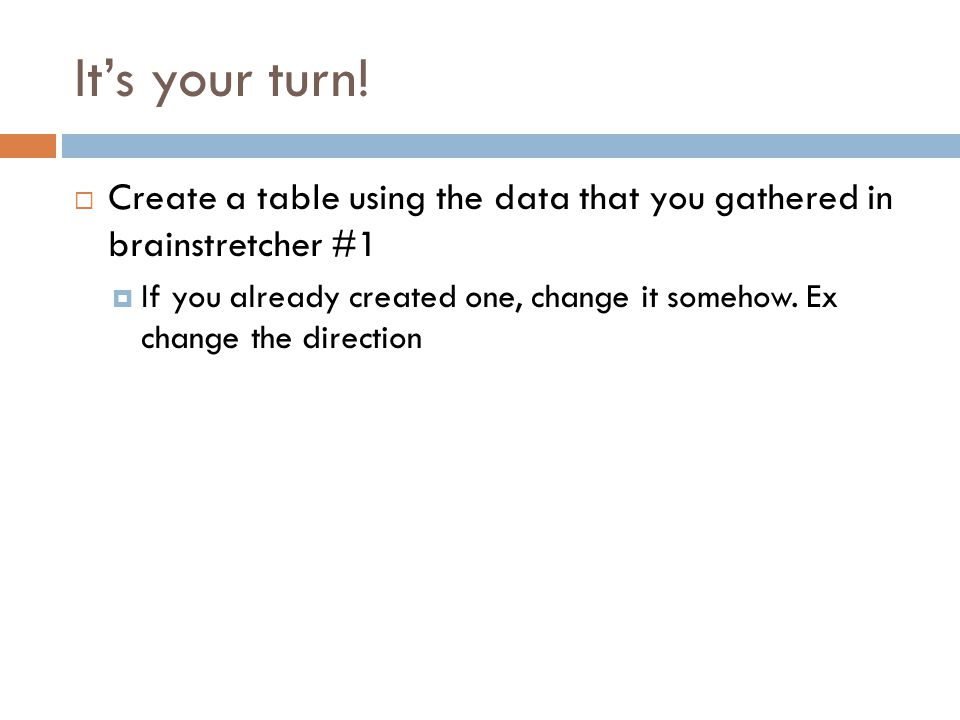 It's your turn! Create a table using the data that you gathered in brainstretcher #1.