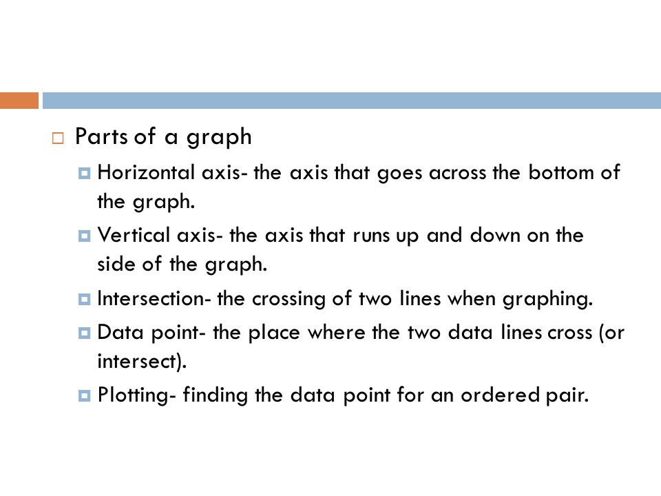Parts of a graph Horizontal axis- the axis that goes across the bottom of the graph.