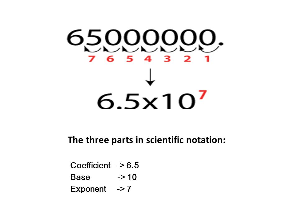 The three parts in scientific notation:
