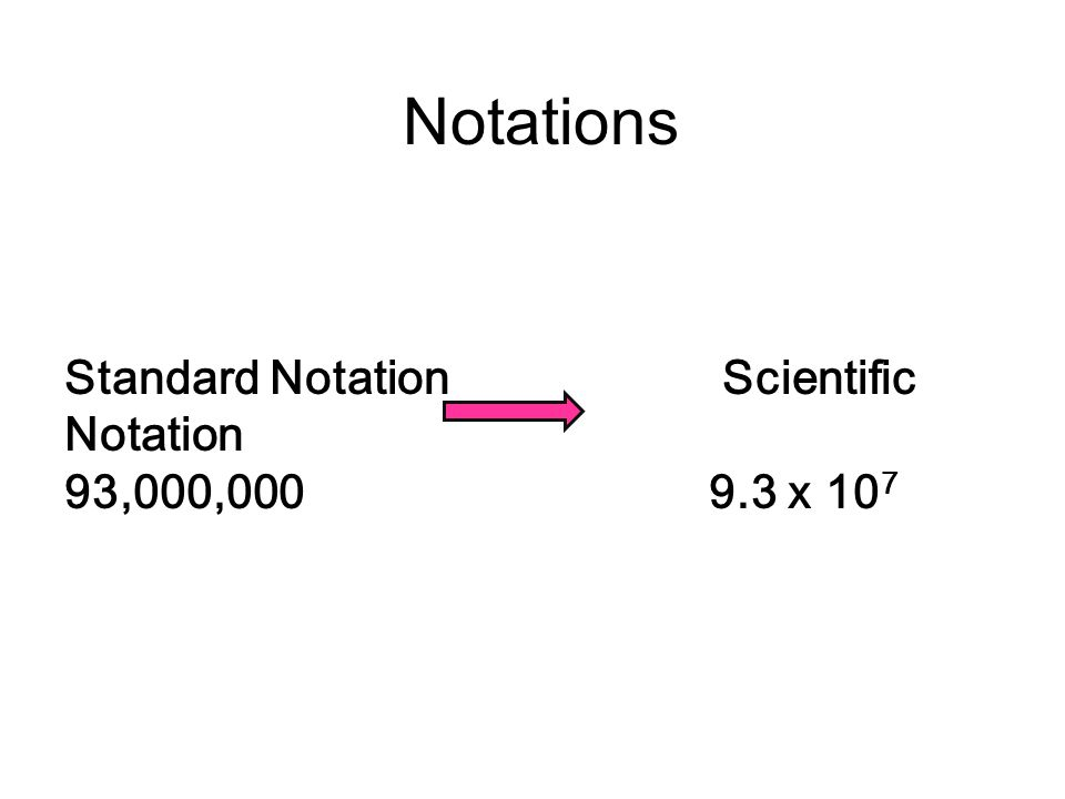 Notations Standard Notation Scientific Notation 93,000, x 107.