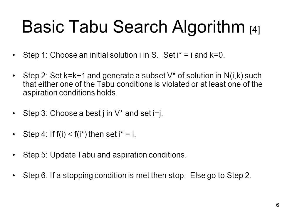 Basic Tabu Search Algorithm [4]