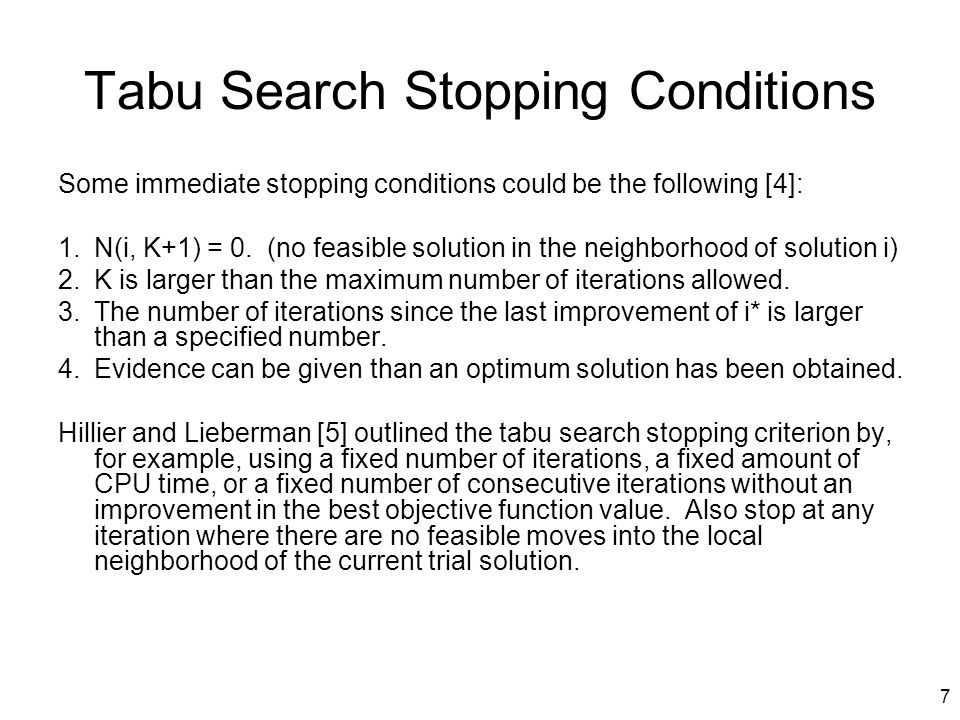 Tabu Search Stopping Conditions