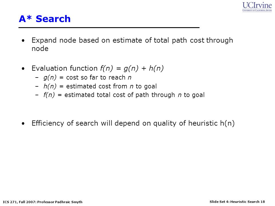 A* Search Expand node based on estimate of total path cost through node. Evaluation function f(n) = g(n) + h(n)