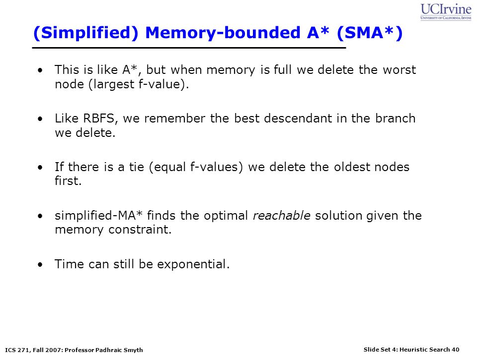 (Simplified) Memory-bounded A* (SMA*)