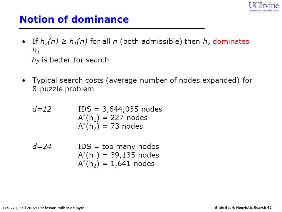 Notion of dominance If h2(n) ≥ h1(n) for all n (both admissible) then h2 dominates h1. h2 is better for search.