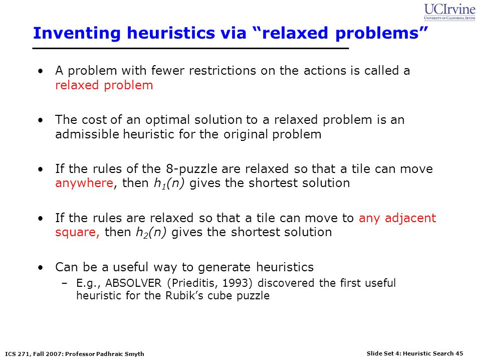 Inventing heuristics via relaxed problems