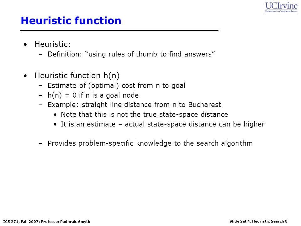 Heuristic function Heuristic: Heuristic function h(n)